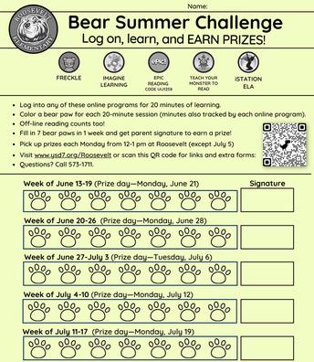 Bear Summer Challenge—English