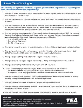 Ejemplo del documento de los derechos de los padres/tutores