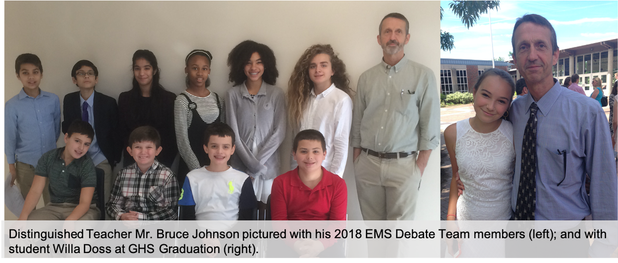 Bruce Johnson pictured with his EMS Debate Team and a GHS graduate