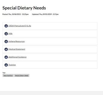 Special Dietary Needs Webpage