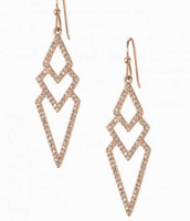 Pave Spear Earrings-Rose Gold