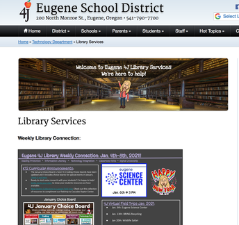 Eugene 4J Library Services Webpage