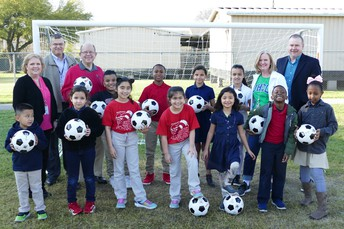 Sneed Elementary School recently received two soccer goals, 10 soccer balls and an equipment bag from the Westchase District Community Fund.