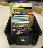 One basket of leveled books ready for classroom delivery!