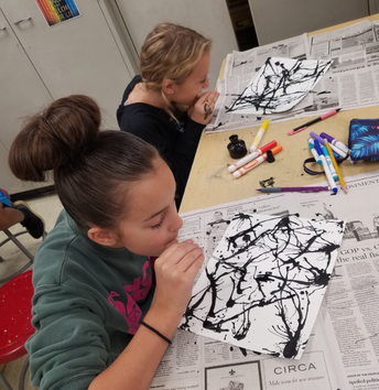 Blown Ink Background in Art Class