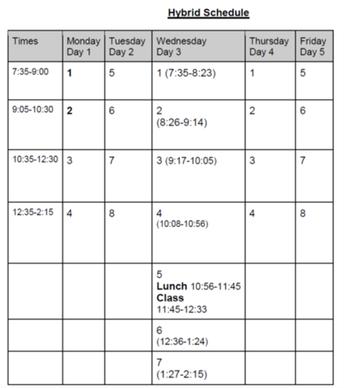 Hybrid Schedule 10-26-2020