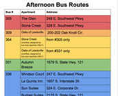 Afternoon Bus Routes 2017-2018