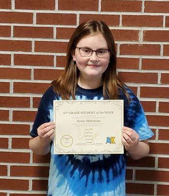 6th Grader: Avery Mehrtens
