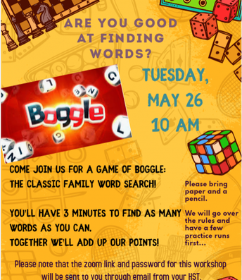 VIRTUAL Community Connections Boggle Word Game!