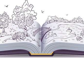 Image of an open book showing pencil drawings come to life.