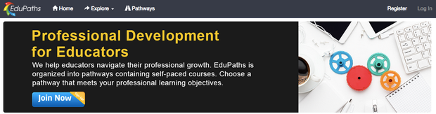 EduPaths website landing page states, Professional Development for Educators