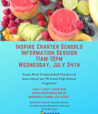 Inspire Charter School Info Session BERMUDA DUNES
