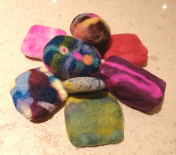 Make  felted soaps in different colours to give as gifts