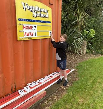 Noah - doing the scoreboard for the interschool sports