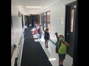 PreK doing a GREAT job in the hallway!