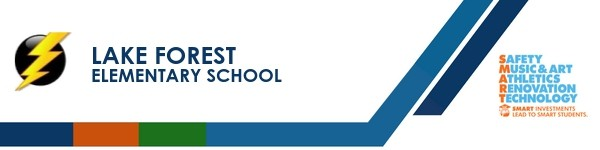 A graphic banner that shows Lake Forest Elementary school's name and SMART logo