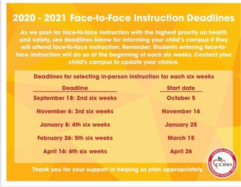 2020-2021 Face-to-Face Instruction Deadlines