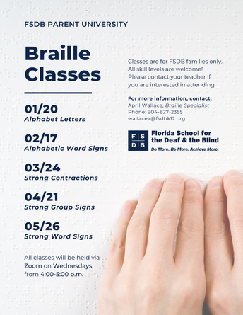 Braille Class Flyer. Hands reading braille.