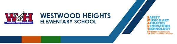 A graphic banner that shows Westwood Heights Elementary school's name and SMART logo with the SMART logo