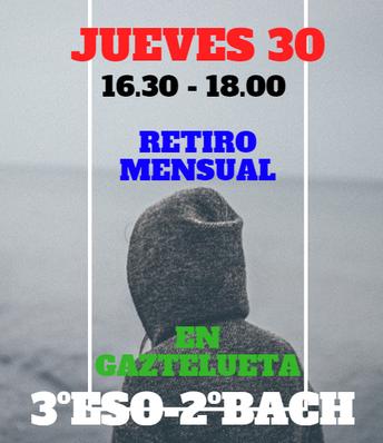 JUEVES 30 / 3ºESO- 2ºBACH