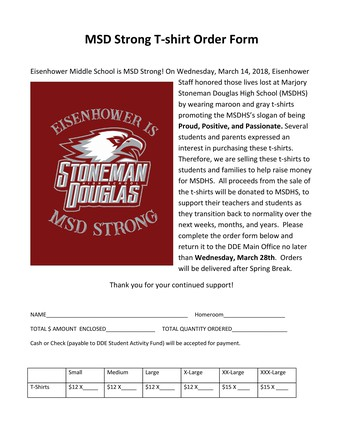 MSD Strong T-shirt Order Form