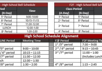 Side by side F2f vs. Virtual Schedule