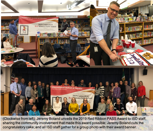 ISD Staff celebration the 2019 Red Ribbon PASS Award during a recent staff meeting