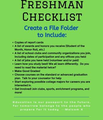 Freshman Checklist