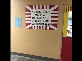 A quote posted near the cafeteria
