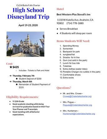 High School Disneyland Trip April 19-23