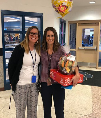 Mrs. Angie Harms with our previous Teacher of the Year, Ms. Megan McNinch