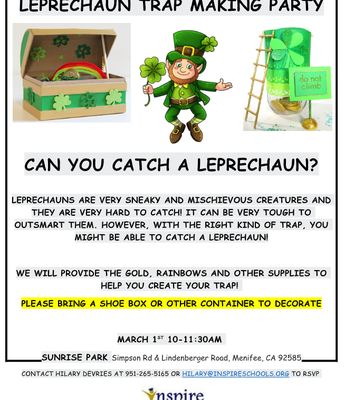 Inspire's Leprechaun Trap Making Party!