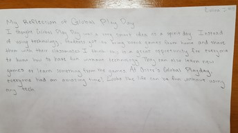Global Play Day Student Reflection (click picture to enlarge)