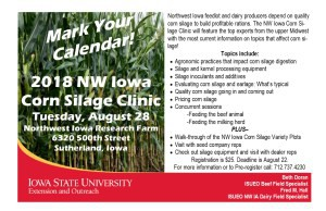 NW IA corn silage clinic details august 28 2018