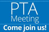 PTA Meeting! September 18th at 6pm