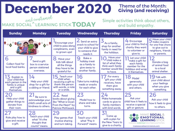 Social and Emotional Learning December Theme: Giving (and Receiving)