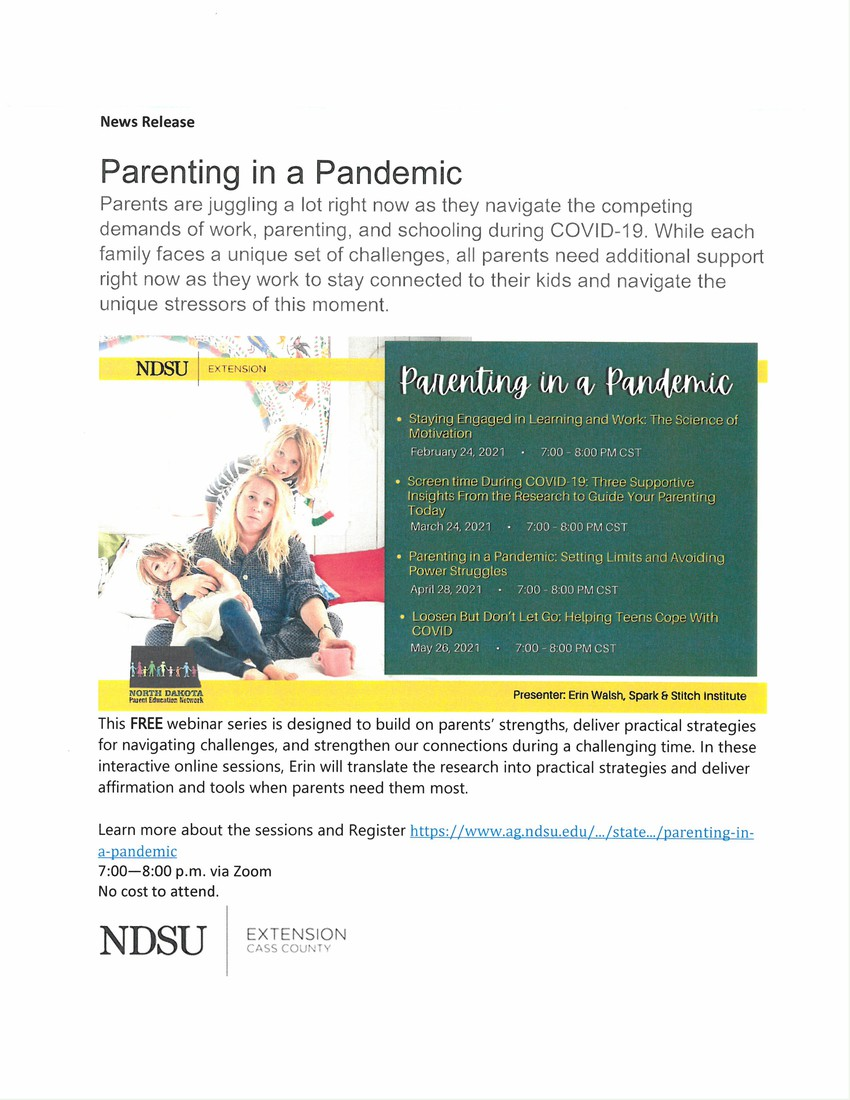 NDSU Extension flyer Parenting in a Pandemic series