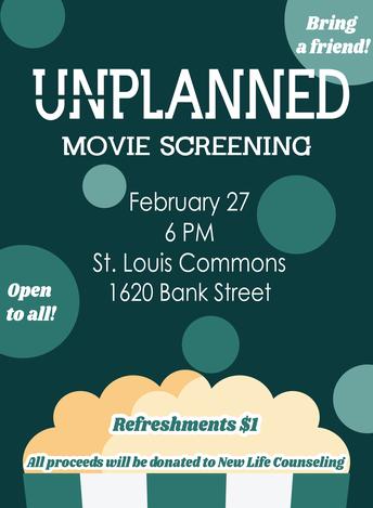 Students for Life Sponsoring UNPLANNED Movie Screening Feb. 27