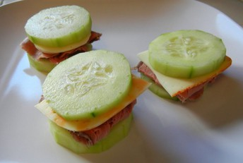 Meat and Cheese Cucumber Sandwiches