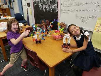 Second grade students were asked to create a creature and develop a story about the creature.