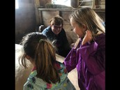 Mrs. Pratt visiting with KES students and sharing her farm animals