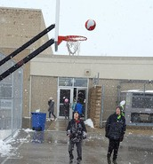 Basketball in the snow