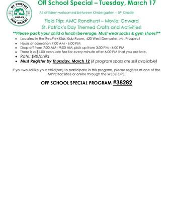 Park District - Off School Special