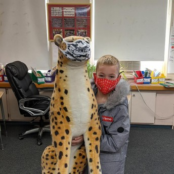 The Lowell Leopard was spotted in Ms. Moriarty's 3rd grade class