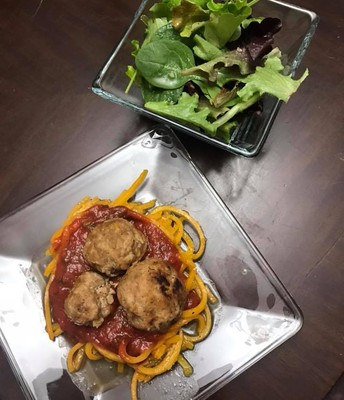 Meatballs with butternut squash noodles (recipe by Kristie Tapper)