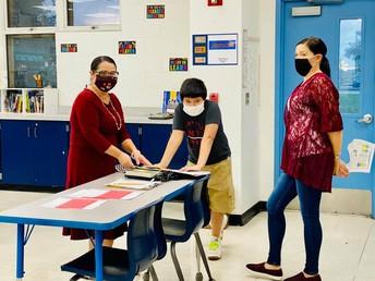 Mrs. Porth meeting students