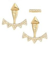 Pave Triangle Ear Jackets - Gold