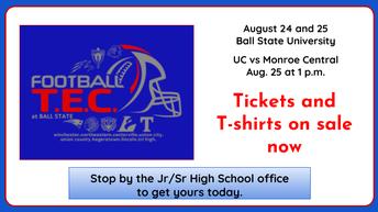 TEC Football at Ball State T-shirt orders due 8/14/18