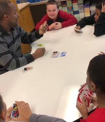 UNO with Mr. Johnson's 4th grade.