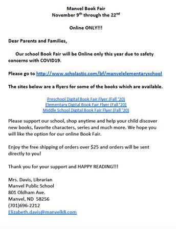 Manvel School On-Line Book Fair